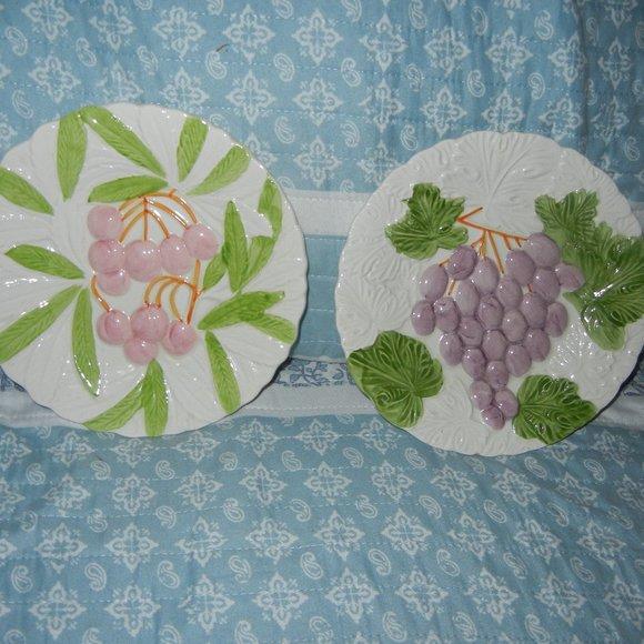 Majolica Cherry and GrapeJapan Shafford Plates